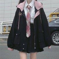 Women's Jackets Winter Japanese Casual Punk Streetwear Jacket Loose Pockets Long-sleeved Hooded Big Size Fashion Vintage Harajuku