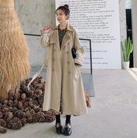 2012 Fashion Korean Style Loose Female Lapel Neck Long Trench Coat Women Oversized Double Breasted Clothing Retro Frock Windbreaker