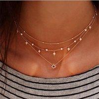 Pendant Necklaces Boho Golden Color Multilayer Necklace Crystal Star Choker For Women Chocker & Pendants Gargantilha