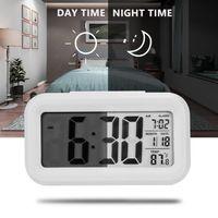 LED grande LED pantalla de pantalla Reloj de alarma digital relojes electrónicos Temperatura para el hogar Oficina de viaje Decoración de escritorio relojes 6 colores