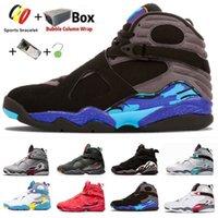 مع Box Aqua Jumpman 8 VIII South Beach 8s حذاء كرة السلة للرجال متعدد الألوان عاكس Quai 54 Raid Three Peat Chrome Valentine's Daymens حذاء رياضي 40-47