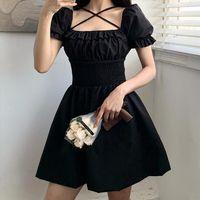 Gothgirl Dark Black Dress Womens Shirt Square Collar Lace High Waist Mini A Line Sweet Lolita Night Club Party For