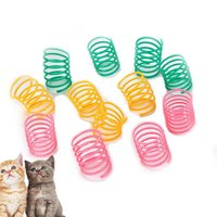 Cat Toys 2PCS Random Color Spring Toy Plastic Flexible Funny Interactive Play Favor Training