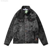 남성용 재킷 버전 GAOPIN 2021 봄 축제 원래 원래 OFF WHIND 화이트 패션과 여성 캐주얼 넥타이 염색 데님 자켓
