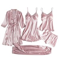 Women's Sleepwear Women Silk Pajamas Sets Flower Print Pijama Kimono 4 Pieces Plus Size Satin Pyjamas Female Lingerie Elegant Nightwear