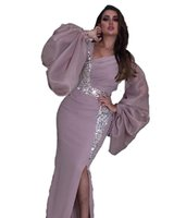 2021 Sexy Side Split Prom Dresses Saudi Arabia Poet Long Sleeves V Neck Kaftan Dubai Mermaid Crystal Beads Evening Dress Formal Party Gowns Custom Made Dusty Pink
