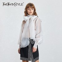 TWOTWINSTYLE Summer Casual Mesh Perspective Thin Women Shirt Lace Up Bow Collar Long Sleeve Loose Slim Button Female Tops 210320