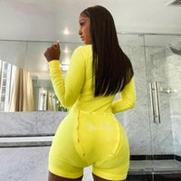 Women's Jumpsuits & Rompers V-neck Buttons Sexy Women Long Sleeve Playsuits Fall Letter Embroidery Sleepwear Back Flap Shorts Streetwear