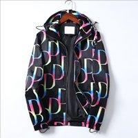 2021 망 재킷 스트라이프 슬림 프린트 포켓 바람 캐주얼 야구 자켓 지퍼 후드 코트 # 6061