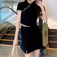 Kadın Eşofman Kadınlar 2 Parça Set Yaz Çapraz Düğme Cheongsam Kısa Kollu Örme T-shirt Yüksek Bel Bölünmüş Kalça Etek Kısa Lugentolo