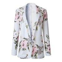 Men's Suits & Blazers JAYCOSIN Women's Blazer Elegant Fashion Woman Retro Floral Print Long Sleeve Notched Collar Zipper Ladies Jaket