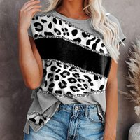 Women's T-Shirt Plus Size Women T-shirts Leopard Patchwork Shirts Short Sleeve Printed O-neck Tops Tee Summer Streetwear Mujer Camisetas