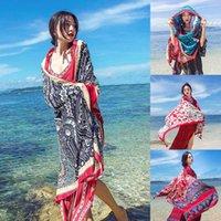 1 pcs fêmea cachecol literário xaile toalha de praia de algodão 190 * 95cm mulheres National Wind Viagens Silk Scarves