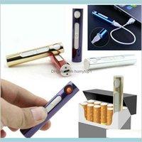 USB Şarj Edilebilir Elektronik Çakmak Alevsiz Ince Rüzgar Geçirmez Metal Kabuk Cihazı Sigara Mini Şarj ARC Elektrikli Isı Lujhy Için
