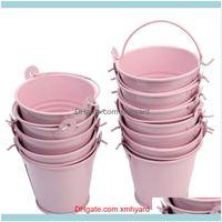 Evento regalo Festive Home Gardengift wrap 12pcs carino rosa mini secchiello metallici in metallo bombardia di latta secchi di latta keg scatola di caramelle forniture per feste di nozze