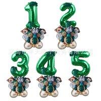 35Pcs Jungle Animal Balloons Set Chrome Metallic Latex Balloon Number Globos Kids Birthday Party Baby Shower Decor