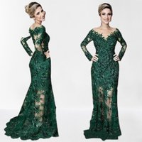 2021 Sexy Dark Green Mermaid Mother Off Bride Dresses Sheer V Neck Illusion Long Sleeves Lace Appliqued Crystal Beads Sweep Train Wedding Guest Evening Gowns