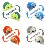 Реверсивная черепаха плюшевая игрушка наполненный сердитый флип счастливые игрушки мягкие милые двухсторонние красочные кукла животных дети подарки