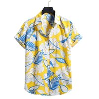 Men's Casual Shirts 2021 Arrival Lapels For Men Male Summer Printed Hawaiian Shirt Comfy Button Up Short Sleeve Clothing