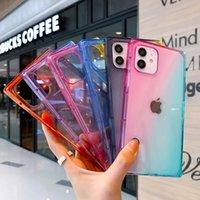 Kare Degrade Rampa Renk Şeffaf Yumuşak TPU Darbeye Dayanıklı Telefon Kılıfları iphone 12 11 Pro X XR XS Max 7 8 artı SE 20 Kapak
