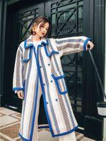 2019 Popular Color Matching Design Woolen Coat Women's Autumn and Winter Korean Hepburn Color Striped Cashmere Wool Coat f20931