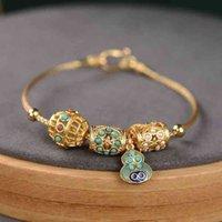 Braceletes Antigos Abóbora Turco Ouro de Mulher Retro Royal Court Style Lotus Semente sob Pomar Ornament Bracelet