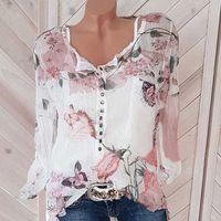 Sexy v cuello botón gasa camisa otoño primavera blusas mujeres más tamaño 5xl tops dulce manga larga blusa Vintage estampado camisas D3FQ #