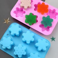 Baking Moulds Silica Gel DIY Cake Molds 6 Even With Six Different Snowflakes Chocolate Candy Mould Soap Mold Non-stick Easy To Demould Bakeware Kitchen Tools