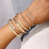 Charm Bracelets 7Pcs Set Bohemian Retro Crystal Arrow Geometry Open Gems Bracelet Set Ladies Jewelry Accessories Party Bangle