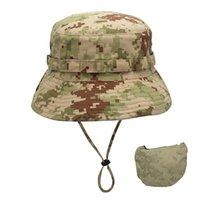 Cappelli per esterni Escursionismo Caccia Pesca Pesca Camouflage Tappo Tactical Cap Militare Boonie Army Caps Uomo Sport Ampia Brim Anti-UV Hearwear