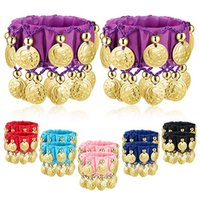 1 Pair Belly Dance Wrist Ankle Cuffs Bracelets Chiffon Gold Coin Costume Accessory