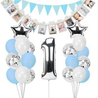 Decoración de la fiesta 1er Feliz Cumpleaños Banner Decoraciones Silver Blue Star Foil Balloon First Boy Chica My 1 Un Año Decoración Niños Adulto