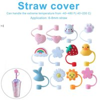 Creative Silicone Straw Tips Cover Reusable Drinking Dust Cap Splash Proof Plugs Lids Anti-dust Tip Sunflower Cherry Blossom OWD10475