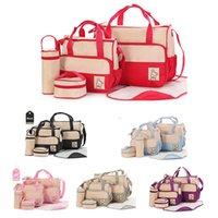 Diaper Bags 5Pcs Set Fashion Bag Mummy Stroller Large Capacity Handbag Nappy Changing Pad For Baby Care With 8 Colors