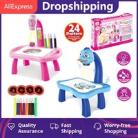 Led Projector Art Drawing Table Toys Kids Painting Board Desk Arts Musical Crafts Educational Learning Notebook Paint Tools Gift H1009