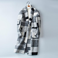 Men's Wool & Blends The Christmas Holiday Coat Classic Plaid Button Solid Long Style Windbreaker Woolen Male Trench#1711