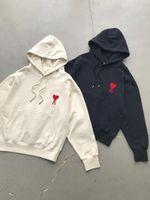 Sudaderas con capucha Sudaderas Hombres Mujeres Algodón Manga larga Suéter AMI Hoodie Bordado Rojo Corazón 2021 Primavera Moda Top