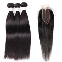 Isuó los paquetes de pelo recto brasileño 3pcs con 2 * 4 paquetes de cabello humano negro negro de cierre con cierre al por mayor Wholesale Weave Weave