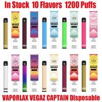 원래 Vaporlax Vegaz 선장 일회용 포드 장치 키트 700mAh 배터리 4ml 1200 퍼프 프리 빌딩 카트리지 vape 스틱 펜 바 플러스 메이트 100 % 정통