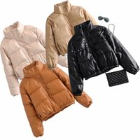 Fashion Casual Leather Cotton Down Jacket Women Stand Collar Padded Coats