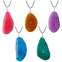 Fashion Natural Stone Raw Onyx Slice Irregular Agat Crystal Necklaces For Women Love Gift Charms Jewelry Chains