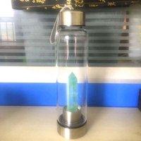 الطبيعية الكوارتز الأحجار الكريمة الزجاج زجاجة ماء مياه الشرب كوب زجاج كريستال قابل للشفاء عصا زجاجة مع حبل جديد 201106 335 R2