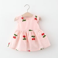 INS Summer Girls Clothing dress Sleeveless Cherry Strawberry Design Princess dresses 1-2-3-4T