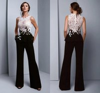 Chic Black And White Prom Dresses Elegant Jumpsuit Evening Dress See Through Top Lace Pansuit Women Graduation Party Trousers Formal robes de soirée 2021