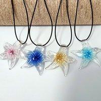 4 stücke mischen romantische lampwork murano glas koralle blume schneeflocke starfish anhänger halskette nett stern schmuck blau rosa gelb