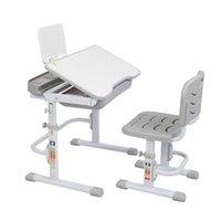 La elevación de los 70 cm puede inclinar la mesa de aprendizaje de los niños y la silla gris (con soporte de lectura sin lámpara)