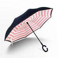 Folding Reverse Umbrella 52 Styles Double Layer Inverted Long Handle Windproof Rain Car Umbrellas C Handle Umbrellas LLE7376