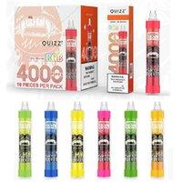 Orijinal QUIZZ QD30 Artı Tek Kullanımlık E Sigara Örgü Bobin RGB Işık ile 4000 Puffs 650 mAh Şarj Edilebilir Pil 12 ML Vape Kalem Sopa Buhar Sistemi