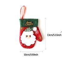 شجرة عيد الميلاد شنقا ديكور سانتا كلوز جورب البسيطة الكرتون عيد الميلاد جورب الأطفال هدية حقيبة ندفة الثلج قفازات مهرجان الديكور NHD10467