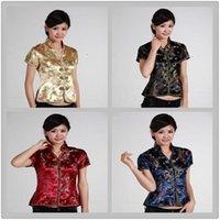 여성용 블라우스 셔츠 상하이 이야기 전통 중국어 새틴 V 넥 셔츠 탑스 드래곤 Phenix Qipao 블랙 / 와인 레드 / 골드 / 진한 파란색